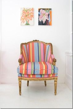 Anna Spiro- love the casual stripes with piping mixed with the ornate stuffiness of the chair