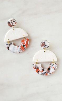 Dangle circle earrings Half moon clay jewelry White minimalist earrings Marble jewellery Geometric arch in terraccota Terrazzo jewelry Diy Clay Earrings, Bar Stud Earrings, Circle Earrings, Diamond Earrings, Blue Earrings, Statement Earrings, Diamond Jewelry, Lotus Jewelry, Diamond Stud