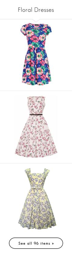 """Floral Dresses"" by januarymorning ❤ liked on Polyvore featuring dresses, navy blue floral dress, floral day dress, navy blue short sleeve dress, short sleeve floral dress, tea dress, vestidos, vestidos curto, pink print dress and vintage dresses"