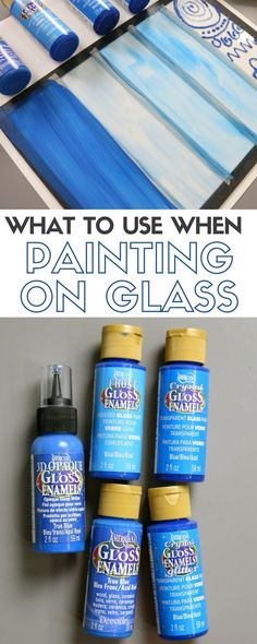 Learn What Glass Paint to Use when Painting on Glass with American Gloss Enamels paints. An easy DIY craft tutorial idea to get you started. crafts painted What Glass Paint to Use on Glass with Video Tutorial Glass Bottle Crafts, Bottle Art, Glass Block Crafts, Glass Craft, Beer Bottle, Bottle Painting, Diy Painting, Painting Glass Jars, Painting On Glass Windows