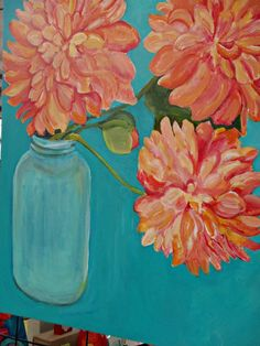 Peonies in Aqua Canning Jar Floral Painting on Cobalt Teal background, Original Flowers painting on canvas, Pretty Peachy Pink