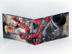 Comic Book Wallet// Deadpool having a drink, $4.00