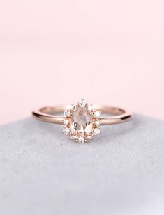 Jewelry & Watches Adaptable 10k Rose Gold Oval Cut Morganite Natural Diamond Jewelry Party Wedding Fine Ring
