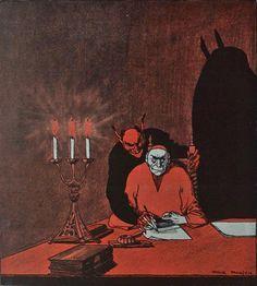 Devil on your shoulder illustration from Die Muskete, 1916 Kunst Inspo, Art Inspo, Arte Horror, Horror Art, Art And Illustration, Fantasy Kunst, Fantasy Art, Signes Zodiac, Satanic Art