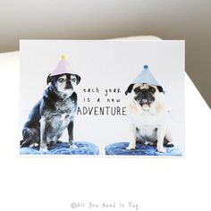 Adventure Pug Birthday Card by AllYouNeedIsPugShop on Etsy, $4.00 #allyouneedispug #pug #pugs #birthday #birthdayparty #birthdaycard
