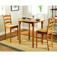 Rush Seat 3-Piece Counter-Height Dining Set, Oak