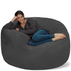 Chill Sack Bean Bag Chair  Giant Memory Foam Furniture Bags and Large  Lounger - Big Sofa with Huge Water Resistant Soft Micro Suede Cover -  Charcoal 4ae4a92252ec6