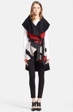 Alice   Olivia 'Keira' Sleeveless Wool Blend Wrap with Leather Belt available at #Nordstrom