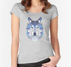 Game of Thrones Polygonal Dire Wolf | RedBubble Women Heather Grey Fitted Scoop TShirt | All Sizes Available for Women @redbubble @RedHillStudios