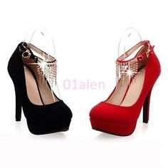 722f492200720 Womens High Heel Tassels Wedding Shoes Ankle Strap Platform Faux Suede Pumps  Red