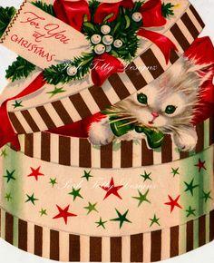 Kitten In A Box Vintage Greetings Card Digital by poshtottydesignz, $2.00