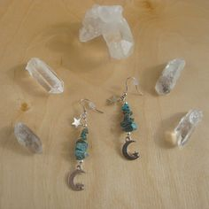 Buy #handmade for the holidays! Great gift ideas start here >>> Genuine turquoise dangle earrings.      Each earring is lovingly assembled from a stack of GENUINE turquoise stone beads, with a delicate little #moon and #star charm danglin... #giftideas #trending #earrings #buyhandmade #geometric #astrology #wicca #night #astrological #hippie #boho #halloween