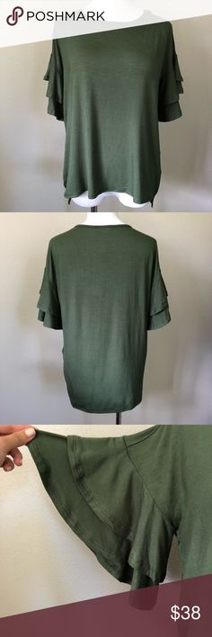 """🆕 Olive Ruffle Sleeve Top Brand new boutique item. Due to lighting, color is a little greener in person.  96% Bamboo 4% Spandex  Approx Measurements (from size Small) Bust: 20"""" Length: 22.5"""" Back length: 24.5"""" Tops Blouses"""