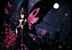 accel_world black_eyes black_hair butterfly dress elbow_gloves kuro_yuki_hime moon night oyeung petals stars wings Cool Anime Girl, Beautiful Anime Girl, Anime Art Girl, Anime Girls, World Wallpaper, Wallpaper Backgrounds, Girls Characters, Anime Characters, Art Anime Fille