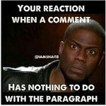 Your reaction when the comment has nothing to do with the paragraph.