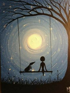 A fun image sharing community. Explore amazing art and photography and share your own visual inspiration! Wow Art, Art Plastique, Painting Inspiration, Painting & Drawing, Moon Painting, Swing Painting, Landscape Paintings, Landscape Quilts, Acrylic Paintings