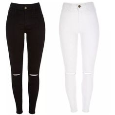 Toni Skinny Jeans ❤ liked on Polyvore featuring jeans, pants, white distressed jeans, high-waisted jeans, skinny jeans, ripped jeans and high waisted jeans