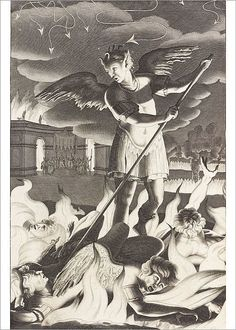 Michael Burgesse (after John Baptist Medina) - Satan, illustration to Book 1 of Paradise Lost by John Milton. John Milton Paradise Lost, Satanic Art, Greatest Villains, Demon Art, Angels And Demons, Fallen Angels, Gravure, Underworld, Heritage Image