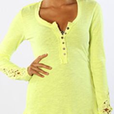 Free People The Henley Crochet Top in Neon Yellow Free People Women's The Henley Crochet Top in Neon Yellow. Cutout sleeves. Free People Tops Tees - Long Sleeve