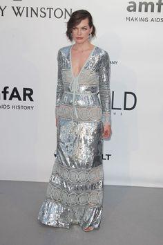 Milla Jovovich - In Elie Saab at amfAR Gala.