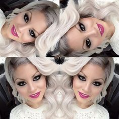 i don't usually like platinum blonde, but this combo of hair and makeup i love