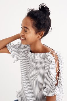 madewell striped ruffled lace-up top