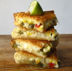 Mexican grilled cheese with manchego, corn & lime...sounds sooo good!