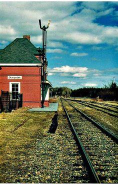 ORANGEDALE, Nova Scotia - Train station Cape Breton when the trains still went there' - Vernacular Clipped Gable Style Architecture Enchanted Island, Atlantic Canada, Cape Breton, Prince Edward Island, New Brunswick, Train Tracks, Canada Travel, Nova Scotia, Railroad Tracks