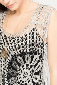 Crochet Front Top With Lace Back