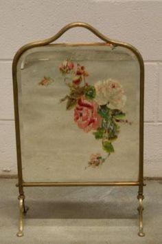 Antique Victorian Fireplace Screen | Victorian Brass Handpainted Mirror Fireplace Screen UK | eBay