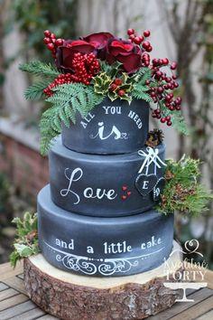 "Bolo ""chalkboard"" com 3 andares. Unique Wedding Cakes, Unique Cakes, Beautiful Wedding Cakes, Gorgeous Cakes, Wedding Cake Designs, Pretty Cakes, Creative Cakes, Amazing Cakes, Cake Wedding"