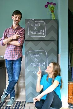 Love the idea of a chalkboard fridge and this patterened tutorial takes it to the next level.