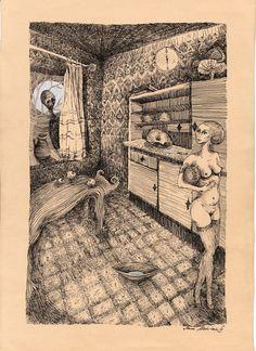 "Saatchi Online Artist: Marzena Ablewska- Lech; Pen and Ink, Drawing ""Judith"""