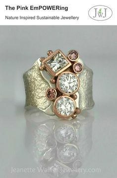 I absolutely loved making this Diamond and Pink Sapphire ring with all its sparkle and dramatic style. With it's recycled vintage gold and gemstones, the pink EmPOWERing is the epitome of great empowerment on your hand, and on your soul. Gold Diamond Wedding Band, Rose Gold Engagement Ring, Halo Diamond, Solitaire Engagement, Diamond Rings, Tiffany Jewelry, Diy Schmuck, Schmuck Design, Pink Sapphire Ring
