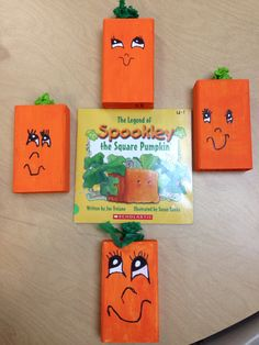 Fall craft for students with reading connection. Cut 2x4s in 6 inch pieces. Step by step instructions for face and you've got your Spookly the Square Pumpkin. Did this with first graders!