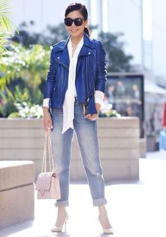 11.14 happy weekend (ACNE leather jacket + Zara silk shirt with bow collar + Zara belt + Levi's BF jeans + Celine nude pumps + Chanel bag + Karen Walker sunnies)