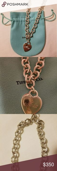 Tiffany & Co. Engraved heart necklace ***PRICE IS FIRM*** *authentic  *engraved MIA  *in good condition  *comes with brand new pouch Tiffany & Co. Jewelry Necklaces