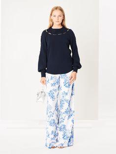 a507f8b2cf Oscar de la Renta Floral Toile Stretch-Silk Georgette Wide-Leg Pants