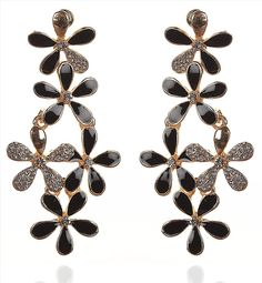 Buy Zephyrr Fashion Pierced Dangling Earrings Flower Party Wear Black Stones Online at Low Prices in India   Amazon Jewellery Store - Amazon.in
