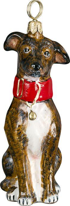 Brindle Greyhound Dog - The Pet Set Blown Glass European Christmas Ornaments by Joy to the World www.aloveofdogs.com