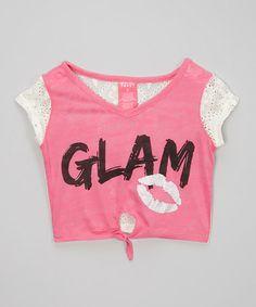 Look what I found on #zulily! Pink 'Glam' Lips Crop Tee - Toddler & Girls #zulilyfinds
