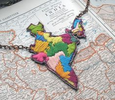 Map of India Hand Embroidered Necklace by ilgattoselvatico, $58.00