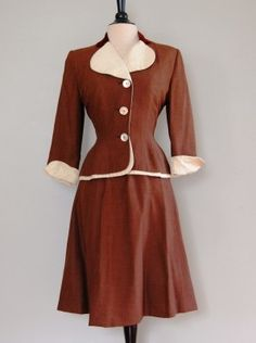 This delicious coffee-toned skirt suit by Paul Panes is in pristine vintage condition. Vintage Skirt, Vintage Dresses, Vintage Outfits, Vintage Clothing, Mode Vintage, Vintage Ladies, Vintage Style, 1940s Fashion, Vintage Fashion