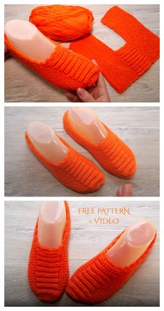 Knit One-Piece Slippers Free Knitting Pattern + Video - Knitting Pattern Easy Knitting, Loom Knitting, Knitting Stitches, Knitting Socks, Knitting Patterns Free, Crochet Shoes Pattern, Shoe Pattern, Sewing Ruffles, Knitted Slippers