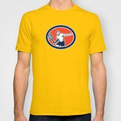 Tennis Player Racquet Oval Retro T-shirt