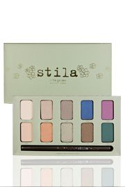 in the garden palette    The new In the Garden Eye Shadow Palette is a stunning collection of Stila's award-winning eye shadows in wearable, botanical-inspired shades for every skin tone. The palette also includes an exclusive Smudge Stick Waterproof Eye Liner in Starfish (black with gold and green pearl), and an 8-page look book with detailed how-to tips and tricks. A gorgeous, palette with 10 shades of Stila's award-winning eye shadow formula that can be worn wet or dry.