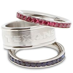 Logo Art Houston Texans Ladies Spirit Crystal Stacked Ring Set  Three. 3 rings for the price of 1!