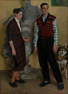Дмитрий Жилинский. Портрет скульптора Зелинского с дочерью.  1960-е