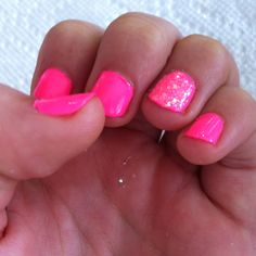 Like this a lot! Pink with one sparkly nail!