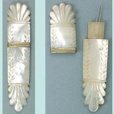 Antique French Mother Of Pearl Palais Royal Needle Case; Circa 1820